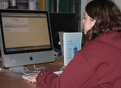 Senior Marisa Clark gets blocked while surfing the internet in the library.  Photo by Jenn Tate