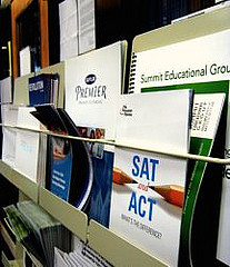 An assortment of the SAT and ACT practice and preparation booklets in the guidance office of HHS. Photo by Caroline Devine.