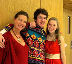 Valerie von Rosenvinge, the director of the HHS Drama Ensemble, stands with the lead of the play, Justin Roshak, and narrator, Catherine Cote. Photo by Swati Sharma