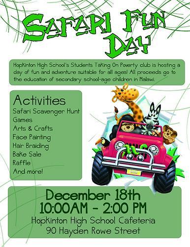 STOP is holding Safari Fun Day on December 18th