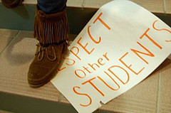 Student steps on