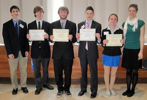 Dan Liberta, Tyler Mikulus, Dan Quigley, Dan Genkin, Leah Raczynski, Alyssa Carter (L to R) won individual awards at the UMASS MUN Conference March 11 to 13. Photo by Karen Podorefsky
