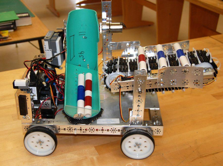 The HHS team's robot with scoring batons. Photo supplied by HHS Robotics.