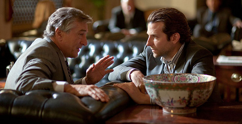 Eddie Morra (Bradley Cooper-Right) and VanLoon (Robert DeNiro-Left) talk buisness in the new movie Limitless.