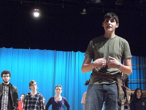 The student ensemble and Sam Chirco rehearse the opening act of the upcoming Fall musical, Working. The show opens Thursday November 3rd at 6:30 in the High School Auditorium.  Photo by Shaina Belsky