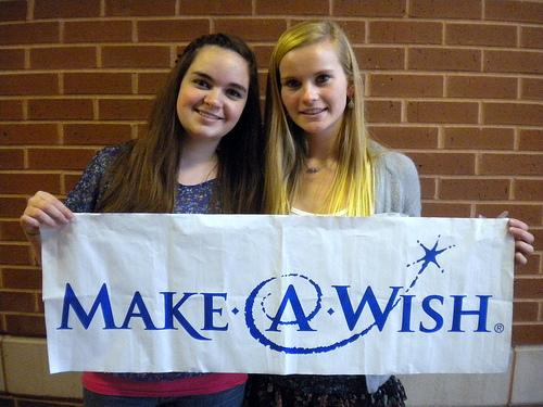 Senior members of Team 11:11, Carolyn O'Leary (left) and Jamie Horrigan (right), are just two of the students raising money to send a child with a life-threatening disease on a Make-A-Wish vacation by the end of this school year.  Photo by Meghan Murdock