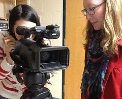 Photo by Sydney Lauro  Film club, one of the newest clubs to HHS, is off to a fun start, led by juniors Ali Weinstein (left) and Adrianna Lankford (right) who teach the students key components and techniques in film.