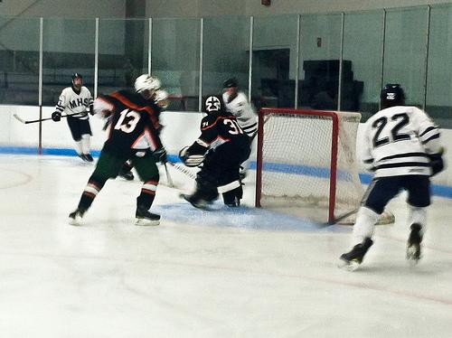 Hopkinton senior goalie Billy Elder gets ready to block a shot from Medway.  Photo by Kayla Sullivan