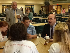 Congressman James McGovern discusses what politics means to him with junior year students at the HHS Local Government Breakfast on Friday March 23. Photo By Blair Guild