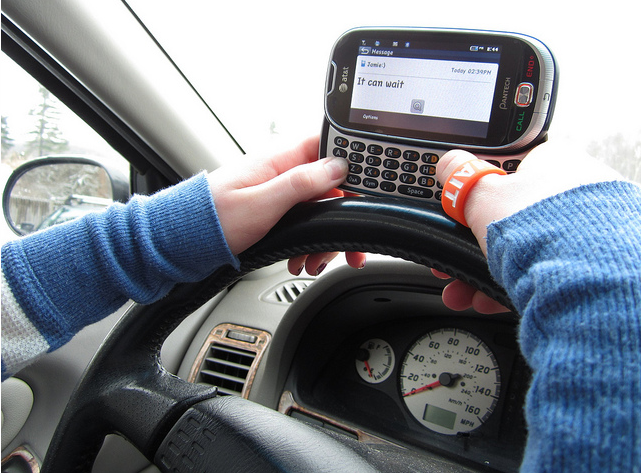 Following the AT&T texting and driving presentation, Michelle Horrigan wears her