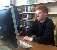 HHS senior Sean Carnes completing his online classwork during a study. Photo by Kayla Sullivan