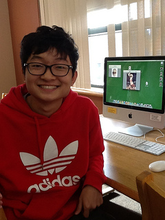 Senior Jin Shao Yang, foreign exchange student from Henan, China works in the library. Photo by Matthew Amegadzie