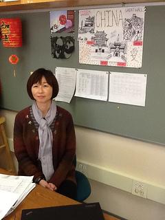 Hopkinton High School's new Mandarin teacher Shu Lin Xu shares how she has been preparing her students for a trip to China. Photo by Matthew Amegadzie