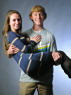 Class Flirts Taylor Dourney & Riley Shea pose for their Yearbook photo. Photo by Photo Club