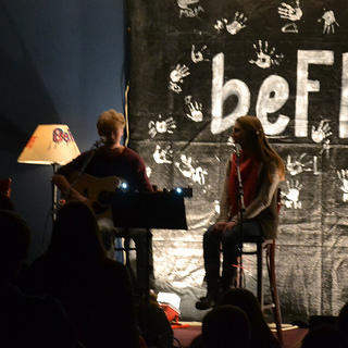 Jack and Catherine Cote preforming together at the BeFree Coffee House.  Photo by Andrew A. Dickason
