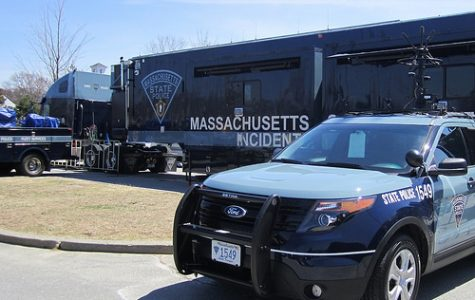 Massachusetts State Police trailer parked outside of HHS doors.  Photo by Julie Li.