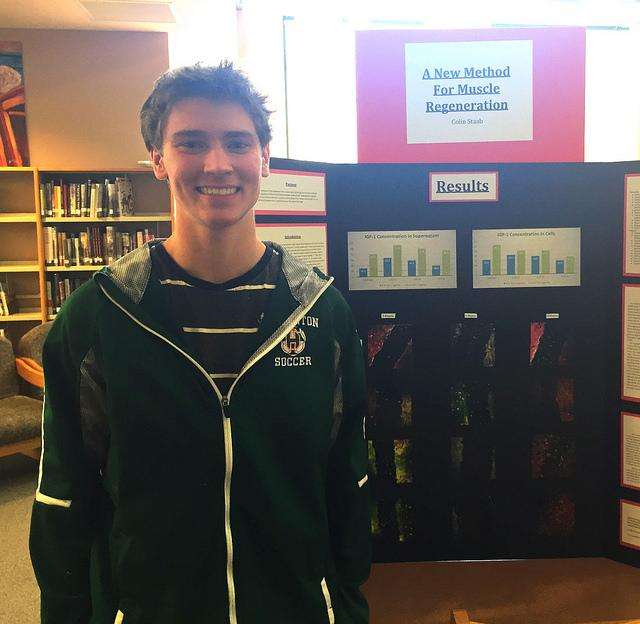 Senior at HHS Colin Staab was awarded first place at the Science fair. Photo by Jillian Sullivan.