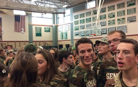 From left to right, seniors X, Brent Leibowitz, Sam Darkow, Sam Danaceau, Christian Dunn, and Jack McGuire prepare for pep rally. Photo by Max Goldberg.
