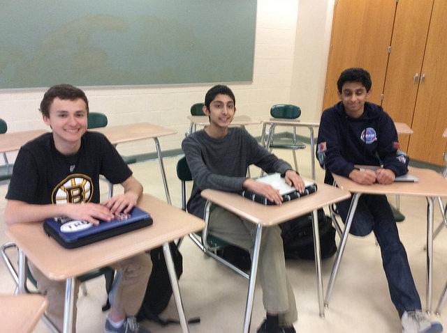 Debate Team members from left to right: Alex Wojick, Maz Ahmad,and Tazwar Ferdous.