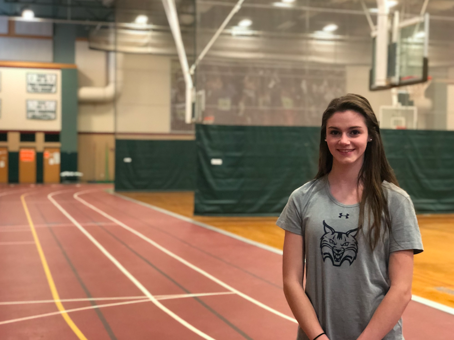 No stranger to the HHS indoor track, senior Caitlyn Halloran spends every afternoon of her winter season here.