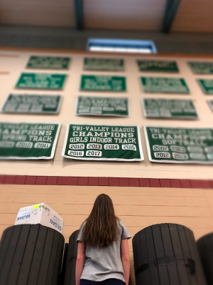 Photo: Caitlyn Halloran looks up at the TVL banner in gymnasium.