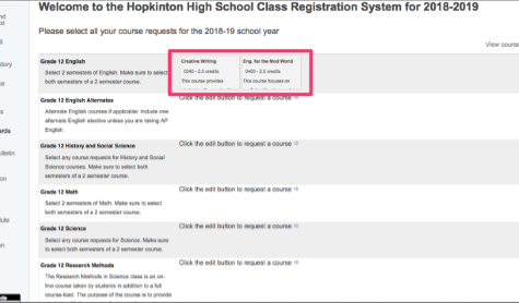 PowerSchool automatically presents course options for each student.