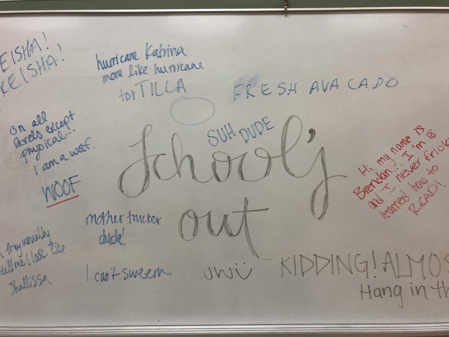 Mr. Buffum's senior precalc class decorates the whiteboard on their last day of classes