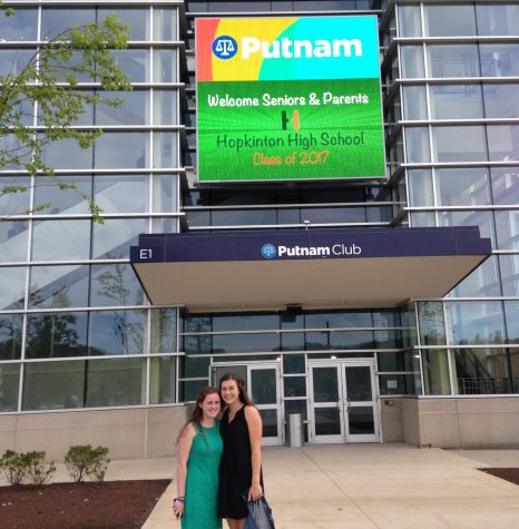 Photo: Maddy Pawela (Left) and Phoebe Lind (Right) standing in front of the Putnam Club at Gillette Stadium at the Senior-Parent Dinner Dance.
