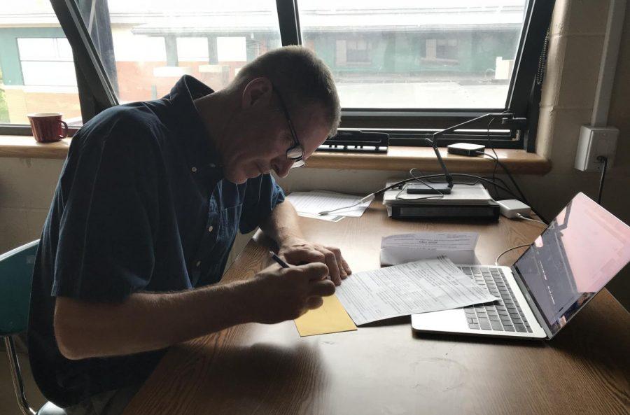 Mr. Joyce hard at work grading quizzes.