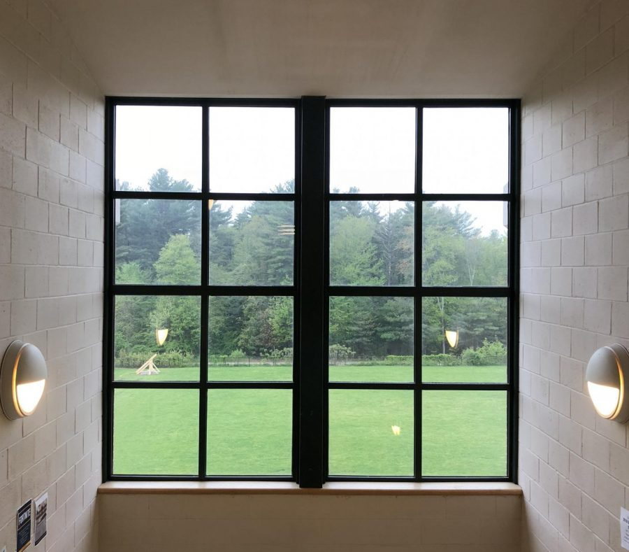 Bright window on the third floor, with view of a senior project trebuchet