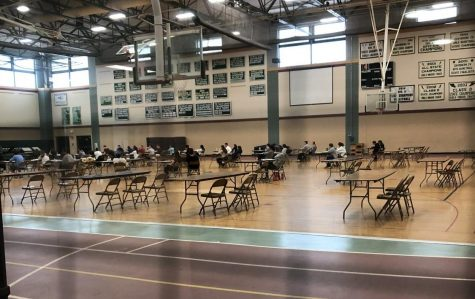 Photo: Students take their seats in the gym for an AP exam.