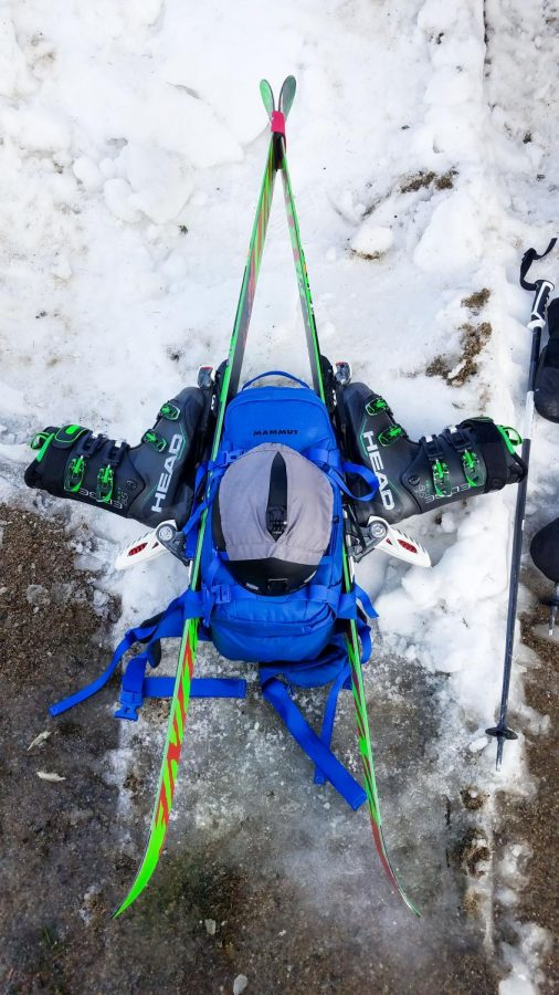 Photo: Strapping our gear on to our packs in a nice A-Frame so that it's all secure.