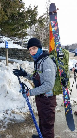 Photo: Max Siegfried getting his gear in order in the parking lot of the Pinkham Notch Visitor Center.