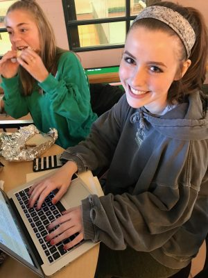 Katelyn Sylvester working during her study.