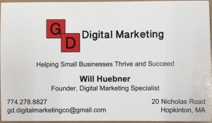 Senior Will Huebner's business card