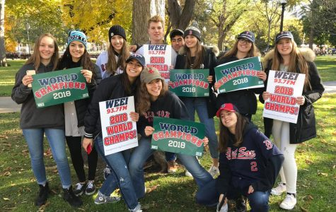 Photo: Dufresne and exchange student friends enjoying the Red Sox Parade