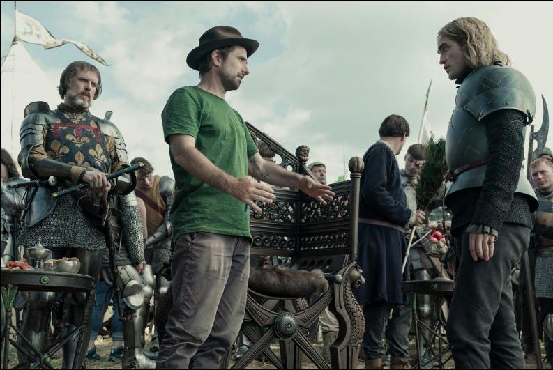 Robert Pattinson and David Michôd in The King (2019)