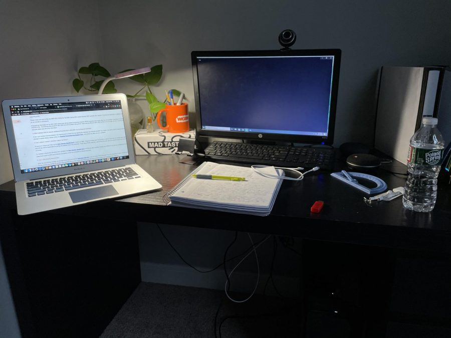 [Furquaan Syed's work set-up as a remote freshman college student. Photo by Furquaan Syed.]